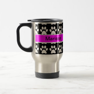 Paws Up - Black and White w/Name Coffee Mug