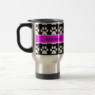 Paws Up - Black and White w/Name Travel Mug