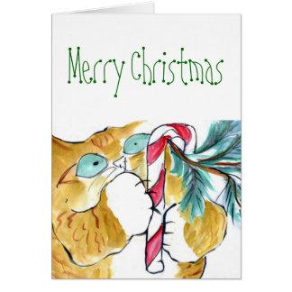 Paws Yank! Orange Tiger & Candy Cane Card
