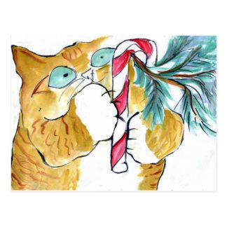 Paws Yank Orange Tiger Candy Cane Postcard