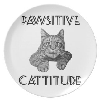 Pawsitive Cattitude Cat Dinner Plate