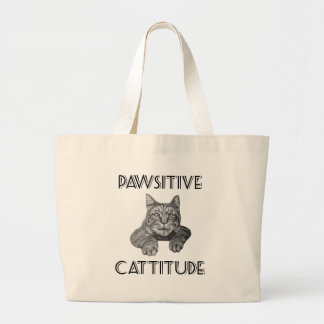 Pawsitive Cattitude Cat Large Tote Bag