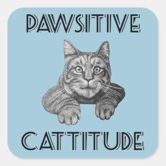 Pawsitive Cattitude Cat Square Sticker