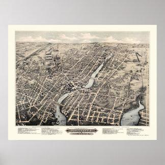 Pawtucket, mapa panorámico de RI - 1877 Impresiones