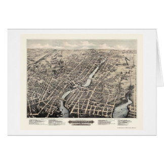 Pawtucket, mapa panorámico de RI - 1877 Tarjeta De Felicitación