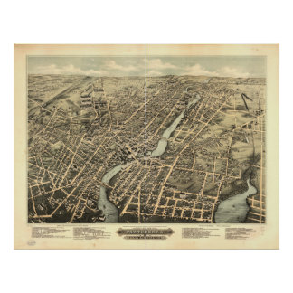 Pawtucket Rhode Island 1891 Antique Panoramic Map Poster