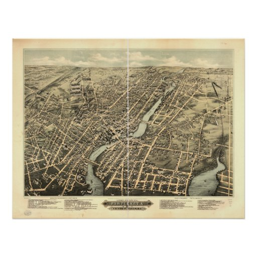 Pawtucket Rhode Island 1891 Antique Panoramic Map Posters