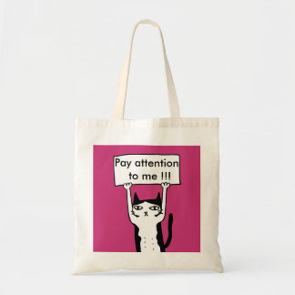 Pay attention to me board holding cat illustra tote bag