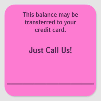 Pay By Credit Card Billing Stickers