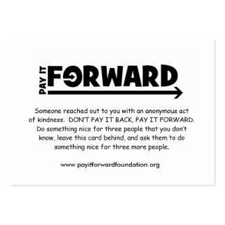 Pay It Forward Card 2009 Large Business Cards (Pack Of 100)