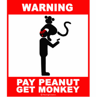 Pay peanut, get monkey standing photo sculpture