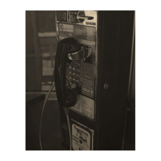 Pay Phone Wood Canvas
