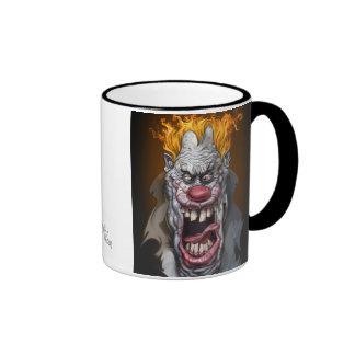 payaso ardiente taza de café