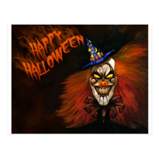 Payaso asustadizo del feliz Halloween Tarjeta Postal