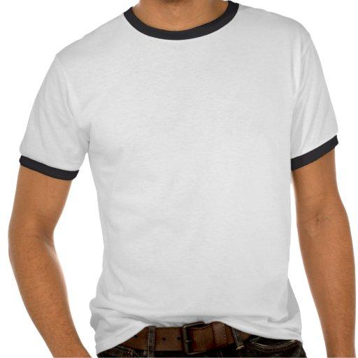 Payaso asustadizo que mira a escondidas hacia camisetas