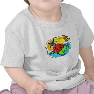 Payaso colorido de Rollerskaing Camisetas