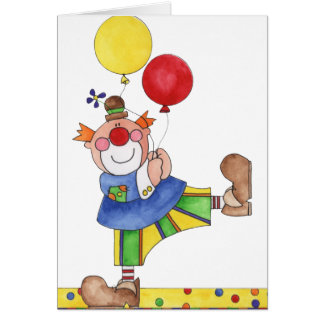 Payaso con los globos tarjetas