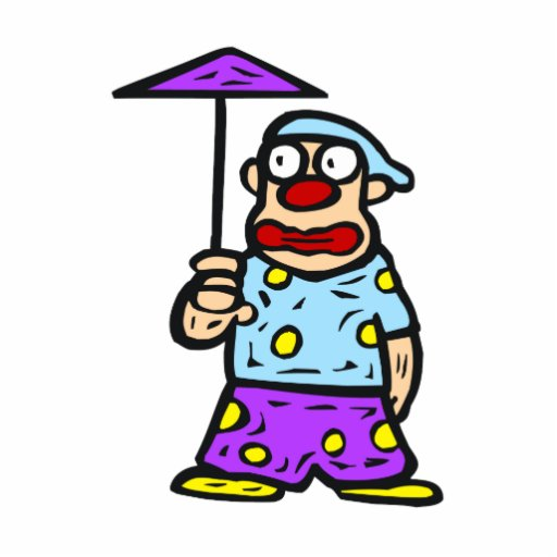 Payaso con poco paraguas fotoescultura vertical