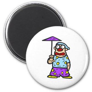 Payaso con poco paraguas imán redondo 5 cm