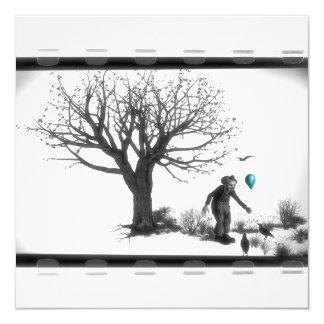 """Payaso de B&W - globo de la turquesa - árbol viejo Invitación 5.25"""" X 5.25"""""""