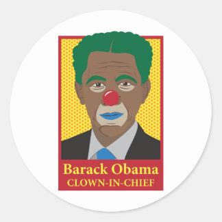 Payaso de Barack Obama Etiquetas Redondas