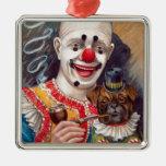 Payaso de circo del vintage con su perro del barro ornamento de navidad