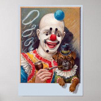 Payaso de circo del vintage con su poste del perro póster