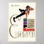 Payaso de circo soviético de URSS Yengibarov 1969 Poster