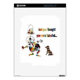 Payaso de circo y su perro iPad 2 calcomanía