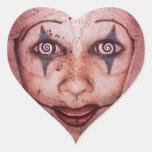 Payaso de Raggedy-Ana del comodín con los ojos de Pegatina Corazón Personalizadas