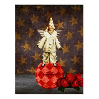 Payaso del ángel del circo del vintage tarjeta postal