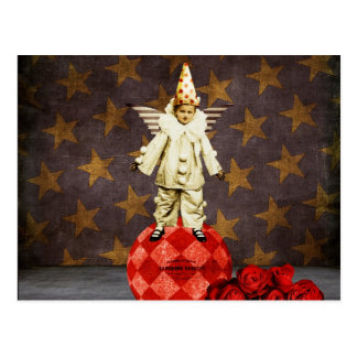 Payaso del ángel del circo del vintage tarjetas postales