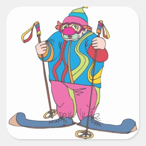 Payaso del esquí pegatina cuadrada
