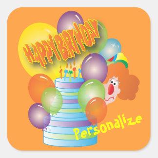 Payaso del fiesta del feliz cumpleaños pegatina cuadrada