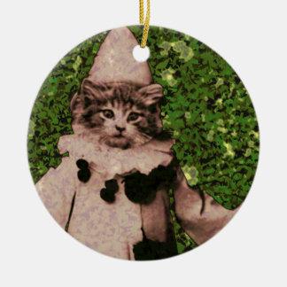 Payaso del gato adorno navideño redondo de cerámica