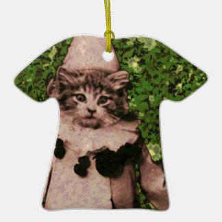 Payaso del gato ornamento para arbol de navidad