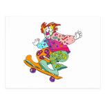 Payaso del patinador tarjeta postal