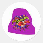 Payaso del perfil del gorra del bufón etiqueta redonda