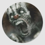 payaso del zombi pegatina redonda