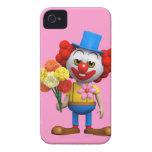 Payaso divertido 3d con las flores (editable) Case-Mate iPhone 4 cárcasas