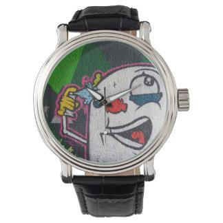 Payaso divertido con la cara blanca relojes de pulsera
