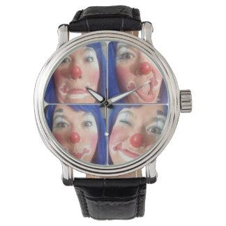 Payaso divertido de las caras reloj de mano