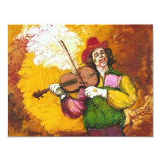 """Payaso """"Dubie Hummingbyrd """" del Fiddler Invitación 10,8 X 13,9 Cm"""