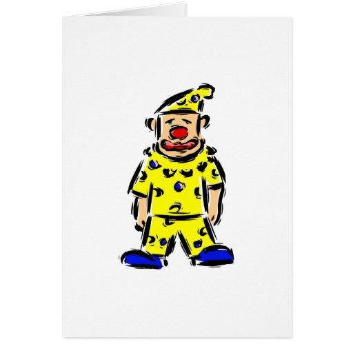 Payaso en amarillo tarjeta de felicitación