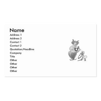 Payaso en amor con el mono en vestido tarjetas personales