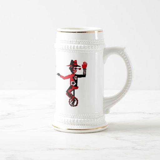 Payaso en la taza de cerveza divertida del arte