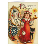 Payaso en los trucos de Halloween del espejo Felicitaciones