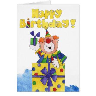 Payaso en un presente tarjeta de felicitación