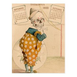 Payaso esquelético tarjeta postal