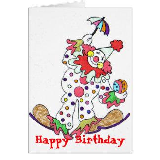 Payaso, feliz cumpleaños tarjeta de felicitación